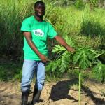 Jacques next to newly planted papaya tree