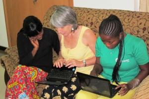 Clotilde Volpe gives Huguette and Jessica secretarial classes