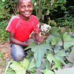 Orphaned boy proud of his garden