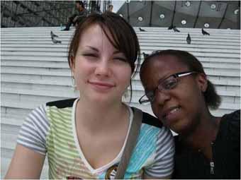 Natalie and her friend Floriane whom she met again in Paris