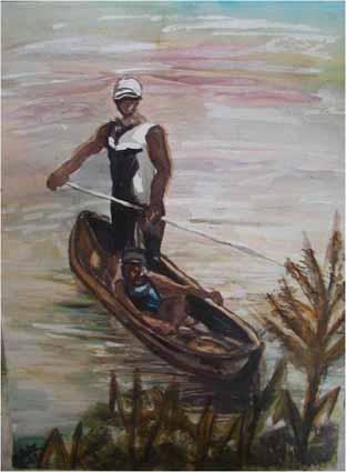 Watercolor—« Homme à la pirogue » on the Congo river