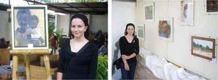 """Art exhibit of her paintings at """"Halle de la Gombe"""" in Kinshasa."""