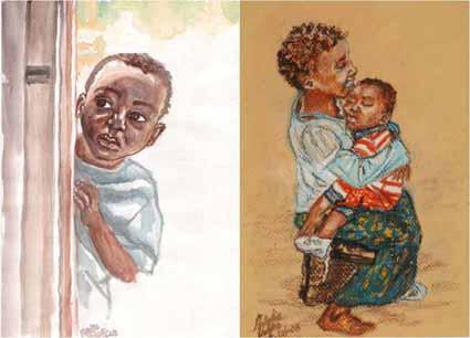 Kikimi orphans—watercolor and pastel