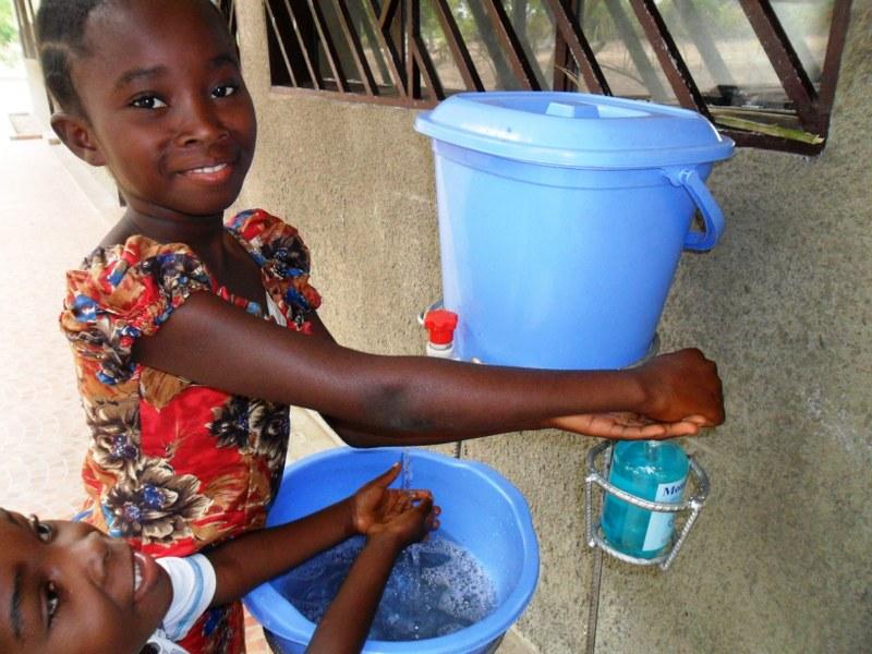 Hand sanitizing set up for the children