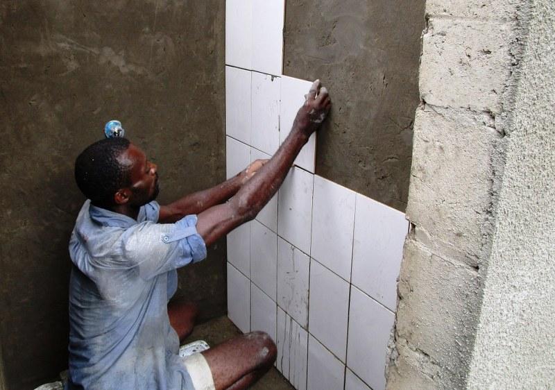 Tiling of the shower stalls