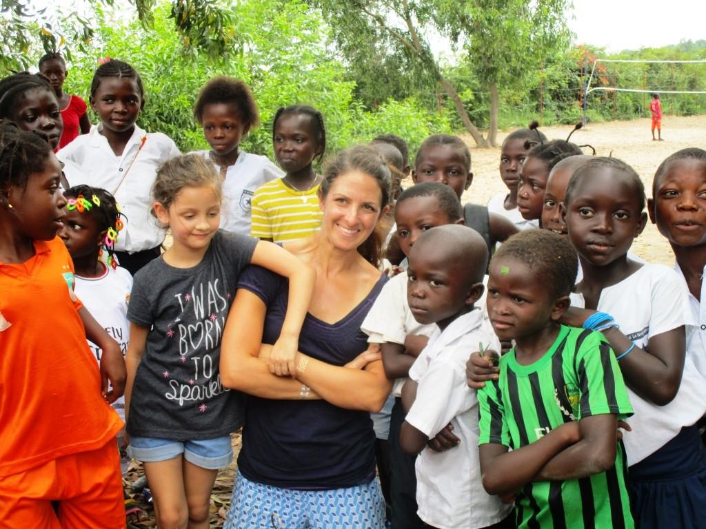 Kristen and Evelyne with Kikimi children