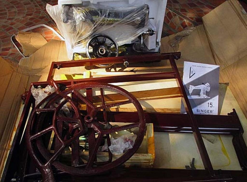 Singer sewing machine, ready to be set up, for Ekuta to start her micro enterprise